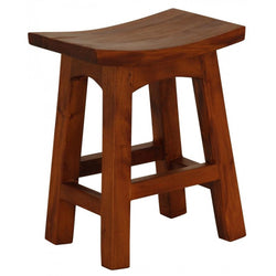 MP - Amst Solid Teak Timber 48 cm Table Bar Stool, BR 048 WD LP ( Mahogany Colour  )