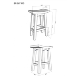 1 Member Special - Amst Solid Teak Timber 67cm Counter Bar Stool, TEK168 BR 067 WD ( Chocolate Colour )
