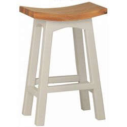 Amst Solid Teak Timber 77cm Bar Stool, French White Caramel Colour TEK168BR-077-WD-WR
