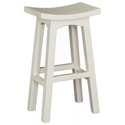 Amst Solid Teak Timber 77cm Bar Stool, TEK168BR-077-WD-WH ( French White Colour )