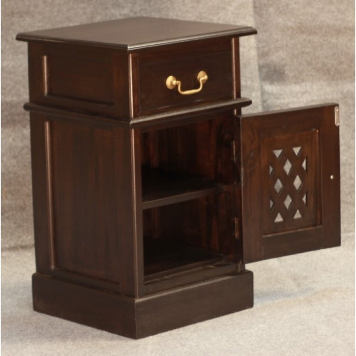 MP - New York Side Table 1 Drawer 1 Door with Carvings  TEK168BS 101 CV ( Chocolate Colour )