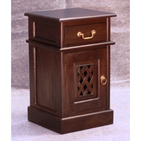 1 Member Special - New York Side Table 1 Drawer 1 Door with Carvings  TEK168BS 101 CV ( Chocolate Colour )