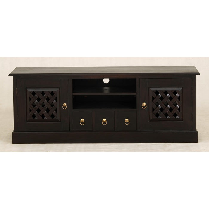 MP - New York TV Console Sideboard with Carvings 2 Door 3 Drawers 2 Open Shelves TEK168 SB 203 CV ( Chocolate Colour )