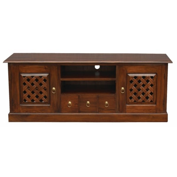 MP - New York TV Console Sideboard with Carvings 2 Door 3 Drawers 2 Open Shelves TEK168 SB 203 CV ( Mahogany Colour )