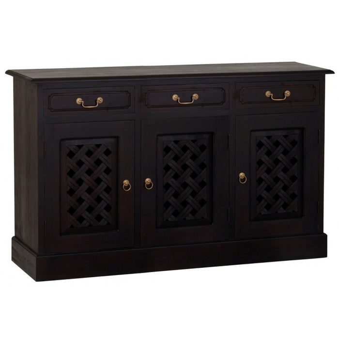 MP - New York Buffet Sideboard with Carvings 3 Door 3 Drawers TEK168 SB 303 CV ( Mahogany Colour )