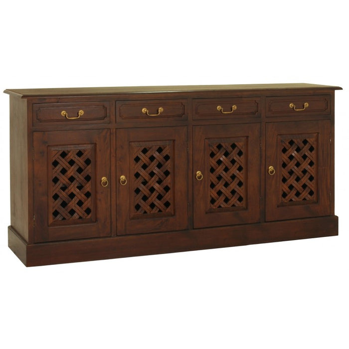 MP - New York Buffet Sideboard with Carvings 4 Door 4 Drawers TEK168 SB 404 CV Pre Order 3 Shelves Design ( Chocolate Colour )