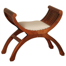 Signature Yuyu Solid Teak Timber One Single Seater Bench with Cushion Seat, Light Pecan TEK168CH-001-TW-UP-LP_1