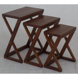 Style Nest of Table Set of 3, 3 Piece Solid Timber Nested Table Set,  TEK168NT-300-Z ( Mahogany  Colour )