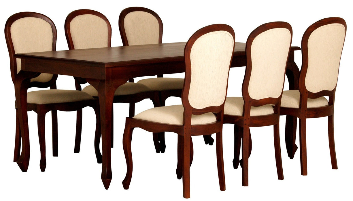 MP - Queen Ann Dining Table DT 180 x 90 cm with 6 Queen Ann Chairs ( Peanut Shape Back ) Special Package Set Full Solid TEK168 DT 180 x 90 QA Set ( Package Price) ( Picture, Color, Illustration for Reference Only ) ( Mahogany Color )