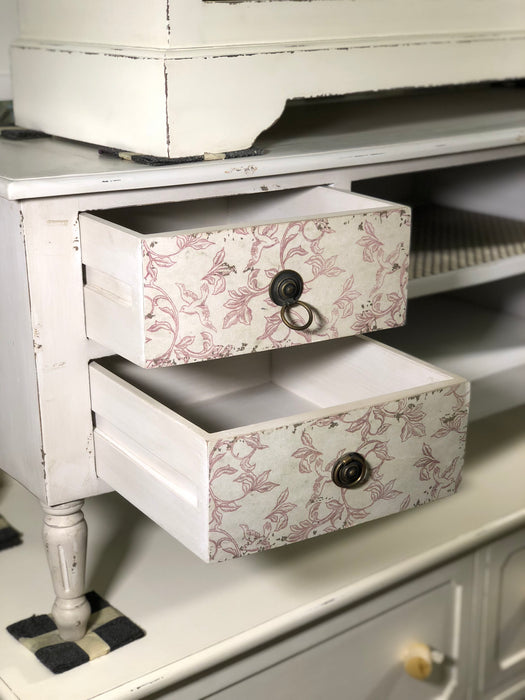 PJS TV Console 4 Drawers With Pattern Motif. TV Cabinet KD HAUSSMAN Grey White Colour Distress Style