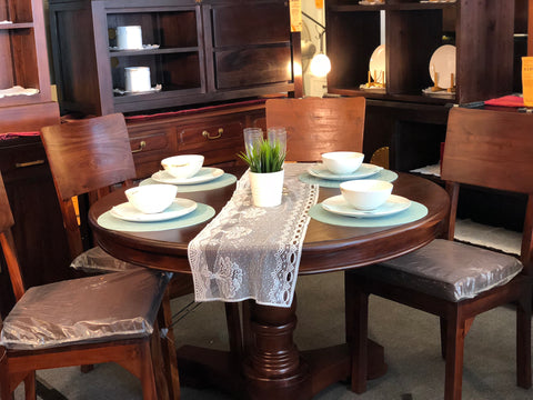 Member Special - Teak French Queen Anna Round Dining Set of 4 Somerton Chair Package Mahogany Color