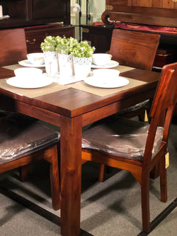 MP - Amsterdam Dining Table with 4 Somertone Chairs 100 x 100 x 78 Special Package Set Full Solid TEK168 DT 100 100 RPN Special Package ( Light Pecan Colour )