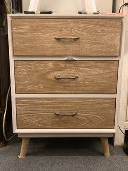 1 Member Special - PJS  Buffet Chest of Drawers 3 Drawer Cabinet Medium Size Royal Two Tone Colour TEK168PJS Chest of Drawers ( Two Tone White and Natural Colour )