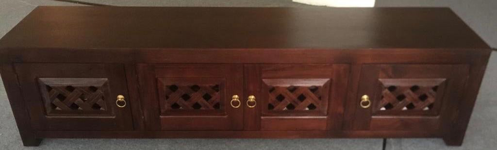 New York Buffet Sideboard with Carvings 4 Door 200 cm TV Console , Shoe Cabinet Full Solid TEK168 SR 400 HSR FL CV ( Picture for Reference Only ) ( Chocolate Colour )