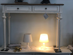 01 Member Special - PJS  Console  GM Marquetterie PERLES  85 x 110 x 35 cm 2 Drawer Sofa Console Table TEK168PJS PRL15V.M(AR)M BOXo B-CA.L2/PG2 ( Royal White and Wood Two Tone Colour )
