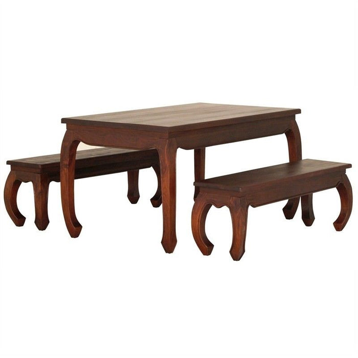 MP - Chinese Oriental Dining Table 150  x 90 cm ( Light Pecan Colour ) with 4 piece CH 5456 QA DC Queen Ann Chair ( Mahogany Colour ) plus 128 cm Opium Bench ( Mahogany Colour ) ( Picture, Colour Illustration for Reference Only )