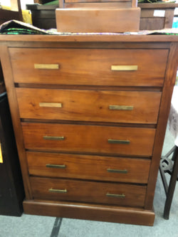 01 Member Special - Paris 5 Drawers Tallboy Chest of Drawers Commode ( 5 Big Drawers ) LC 005 MB W TEK168LC 005 MB W ( Mahogany Colour )