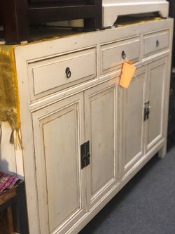 SQX Chinese Buffet Sideboard 3 Drawer 4 Door ( EXACT PIECE ) TEK168SQX SB 403 ( Original Price $1399 ) ( Pictures Illustration for Reference Only ) ( Antique Distress White )