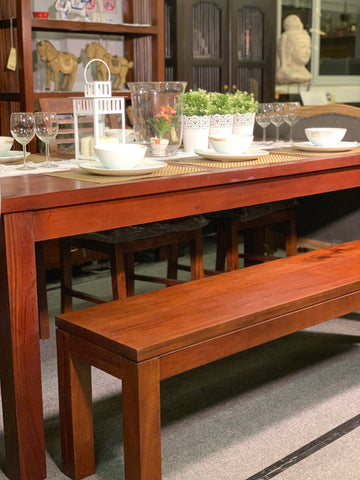 MP - Amsterdam Dining Bench 90 cm Full Solid TEK168 DT 90 cm Bench RPN ( Picture for Reference Only ) ( Mahogany Color )