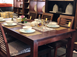1 Member Special - Amsterdam Dining Table with 6 Chairs Special Package Set 200x100x78 Full Solid TEK168DT 200 100 RPN (Special Dining Package Price) ( Light Pecan Color ) ( Picture and Illustration for Reference Only )