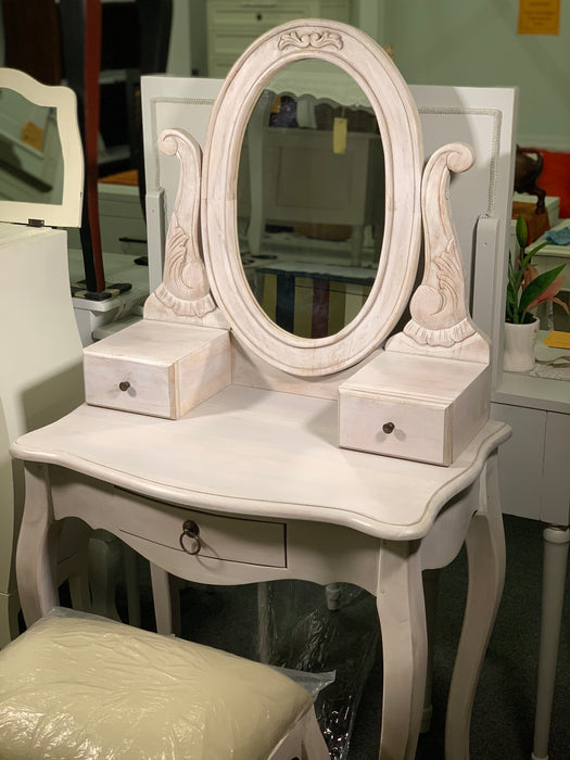 Queen AnnMary Dressing Table Vanity Mirror 2 Small Jewelry Drawers 1 Big Drawer with Stool ( Special Package ) TEK168 ST 003 MR CV Desk ( White  Colour )