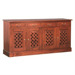 01 Member Special - New York Buffet Sideboard with Carvings 4 Door 4 Drawers TEK168SB 404 CV Pre Order 3 Shelves Design ( Mahogany Colour )