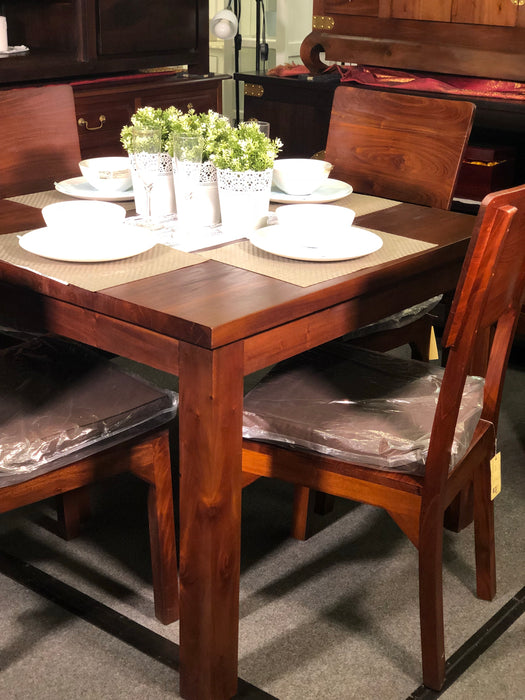 Amsterdam Dining Table ONLY 100 x 100 x 78  Full Solid TEK168 DT 100 100 RPN ( Picture for Reference Only ) ( Chocolate Colour )