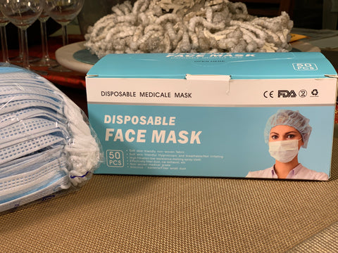 Disposable Face Mask 50 Piece Package  PCS Disposable Filter Mask 3 Ply Earloop Medical Dental Surgical Hypoallergenic Breathability Comfort Breathable Beauty Medical Dust Mask