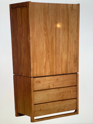 01 Member Special - Scandinavian Wardrobe System 2 Door 3 Drawer Size 100 W 61 D 195 H cm Storage TEK168WD-203-OSL ( Picture Illustration Colour for Reference Only ) ( Mahogany Colour )