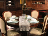 Member Special - Teak French Queen Anna Round Dining Set of 4 Mahogany Color