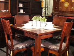 MP - Amsterdam Dining Table with 4 Somertone Chairs 100 x 100 x 78 Special Package Set Full Solid TEK168DT 100 100 RPN Special Package ( Chocolate Colour )