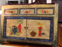 SQX Chinese Buffet Sideboard 3 Drawer 2 Door with Chinese Floral Motif TEK168SQX ( Original Price $999 ) ( Pictures Illustration for Reference Only )