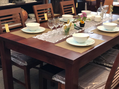 01 Member Special - Amsterdam Dining Table with 6 Chairs Special Package Set 150x90x78 Full Solid TEK168DT 150 90 RPN (Special Dining Package Price) ( Picture and Illustration for Reference Only ) ( Light Pecan Color )