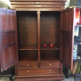 01 Member Special - Tasmania 2 Door 3 Drawer Wardrobe Size 122W 62D 192H 3 Drawers and Storage ( inside 2 Side Hanging Rode and 1 Shelf Across ) WD-203-PN TEK168WD-203-PN ( Mahogany Colour )