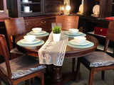 Member Special - Teak French Queen Anna Round Dining Set of 6 Somerton Chair Package Mahogany Colour