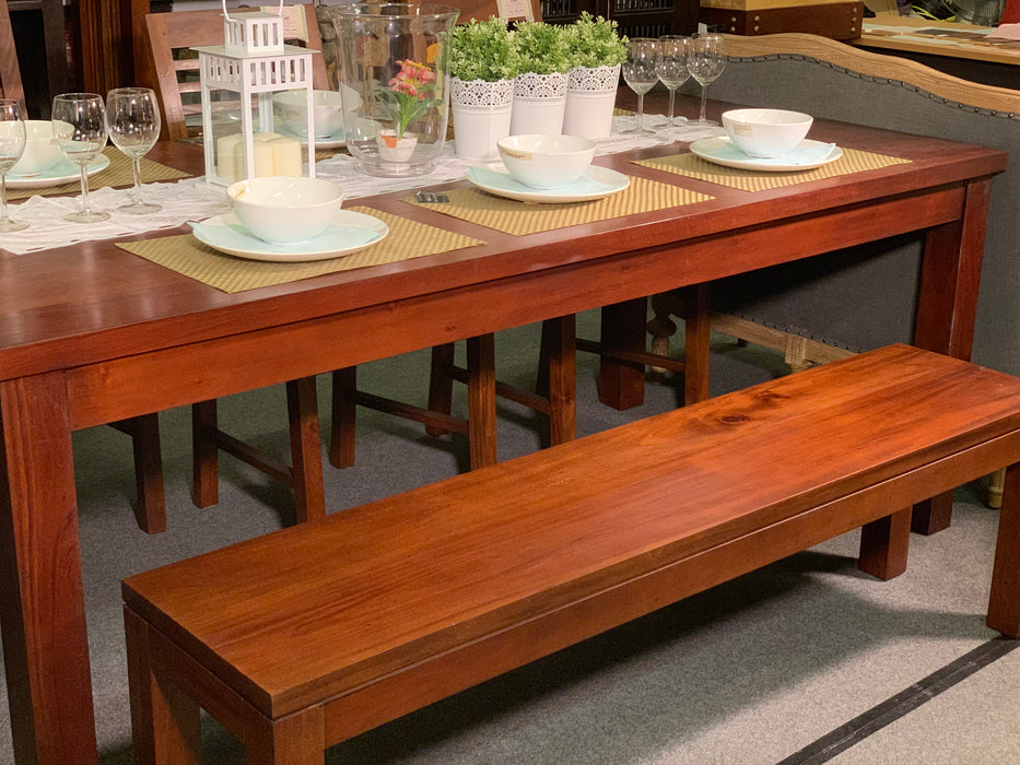 MP - Amsterdam Dining Table with two 158 cm Bench Special Package Set 200x100x78 Full Solid TEK168 DT 200 100 TA (Special Dining Package Price)  ( Picture for Reference Only ) ( Mahogany Color )