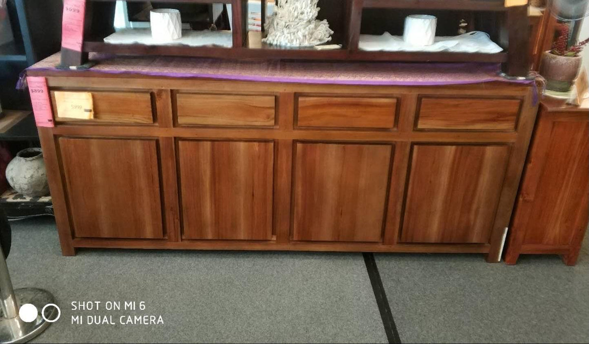 Franeker Amsterdam Buffet Sideboard 4 Drawers 4 Door Cabinet Full Solid  SB 404 TA TEK168 SB 404 TA EC ( Picture for Reference Only ) ( Light Pecan Color  )