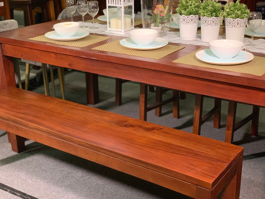 MP - Amsterdam Dining Bench 120 cm Full Solid TEK168 DT 120cm Bench TA ( Picture for Reference Only ) ( Mahogany Color )