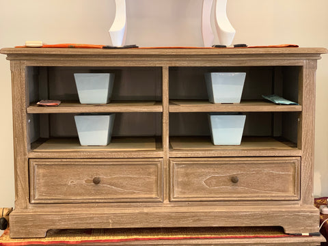 01 Member Special - PJS French TV Console Stand Chest RUSTIQUE TV Unit PG4 65 x 110 x 45 cm 1801 TEK168 ( Wood White Wash Colour )