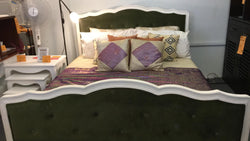 01 Member Special - PJS French Bed ( Velvet Royal Green ) Exact Showroom Piece