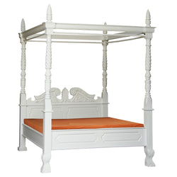 MP - Jepara French 4 Poster Bed Queen Size TEK168 BS 400 CV ( Queen ) ( White Colour )