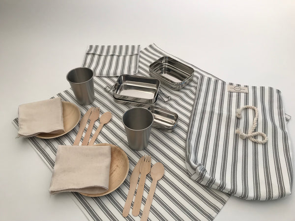 PICNIC FOR TWO / BLACK AND WHITE PINSTRIPE