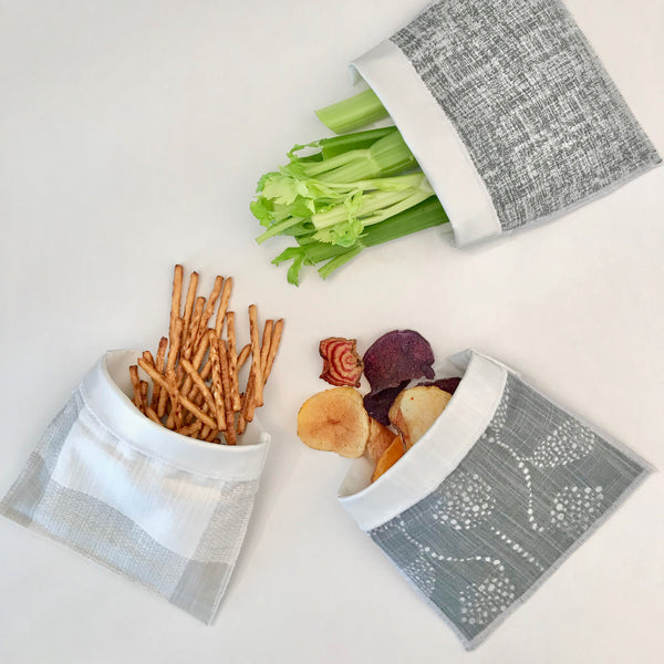 Handmade Reusable Snack Bag - French Grey and White Buffalo Check