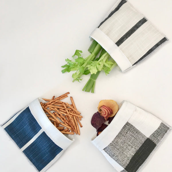 Handmade Reusable Snack Bag - Black and White Buffalo Check