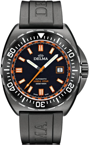 Delma Shell Star Black Tag 500m Watch Schwarz