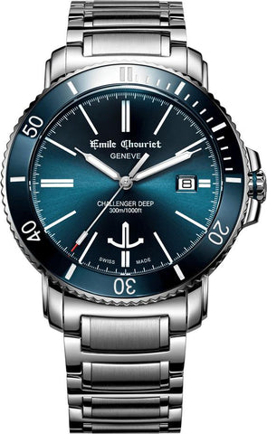 Emile Chouriet Challenger Deep Blue Steel Automatic Diver Watch 08.1169.g.6.aw.98.6