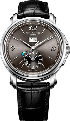 Emile Chouriet Lac Léman Dual Time Grey Leather Strap Automatic Watch 15.1168.g42.6.8.68.2