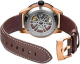 FIYTA Extreme Roadster GA866002.MBR Gold Brown Leather Strap Automatic Watch Back
