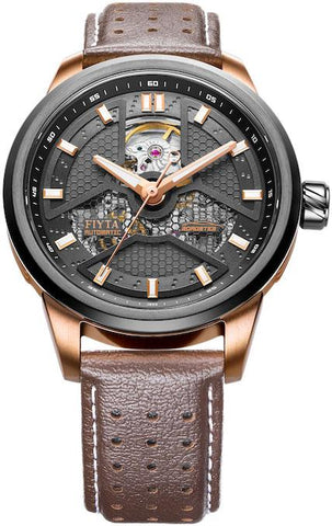 FIYTA Extreme Roadster GA866002.MBR Gold Brown Leather Strap Automatic Watch