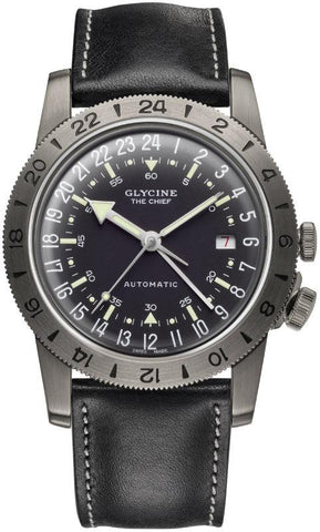 Glycine Airman Vintage The Chief GL0246 GMT Schwarz Automatik Herrenuhr
